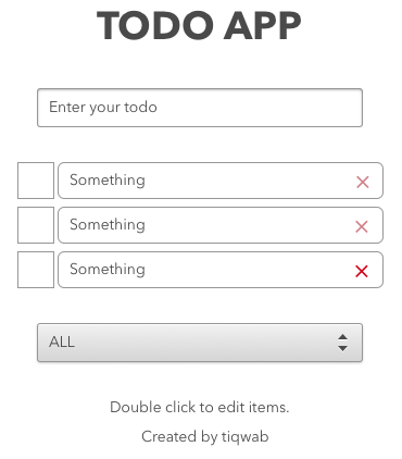 Mock of todo app